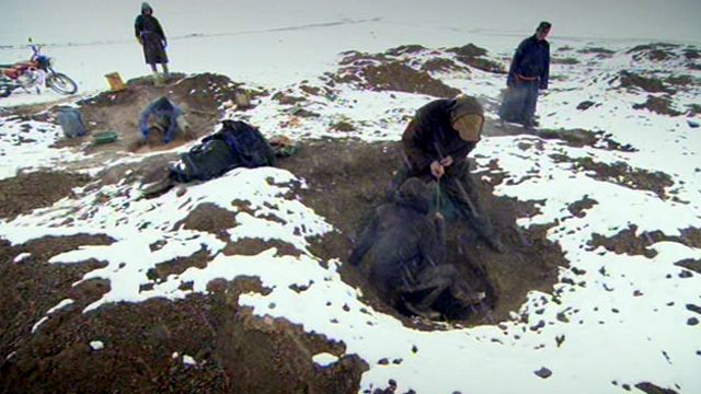 Mine workers enter small holes in the ground to mine for gold
