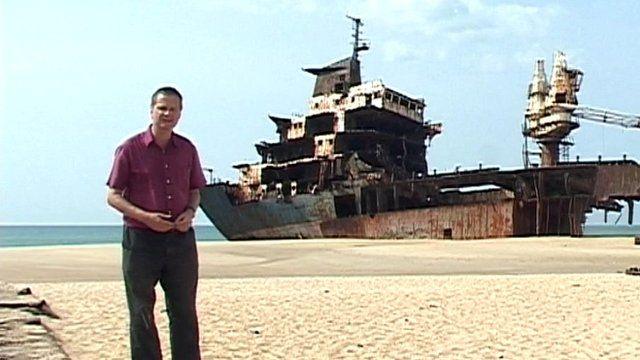 Huge abandoned ship in Sri Lanka