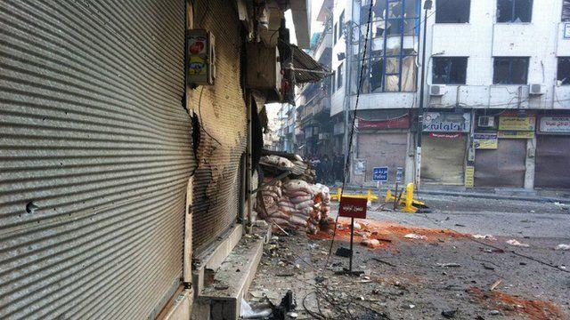 Damaged Homs street