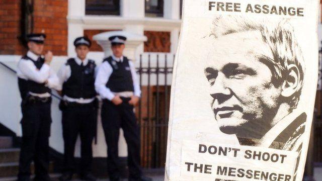 Police outside the Ecuadorean embassy in London