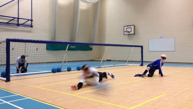 Saving a shot during goalball training