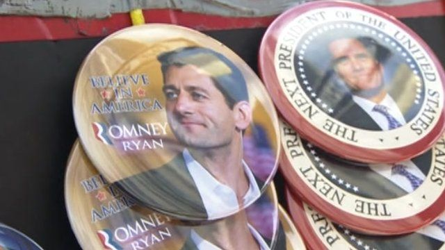 Paul Ryan buttons at the conventions