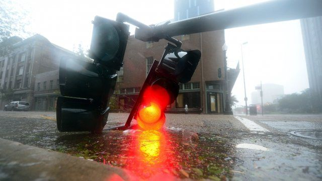 Traffic lights lies on road in New Orleans