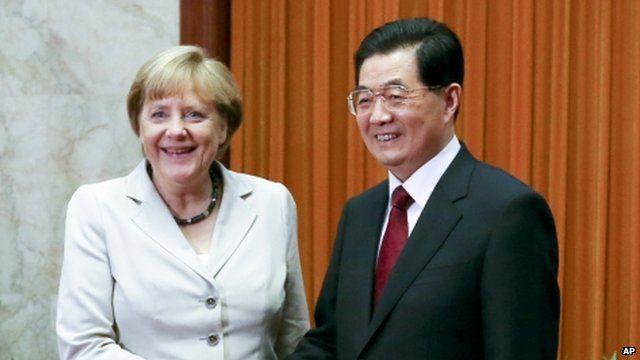 German Chancellor Angela Merkel and Chinese Premier Wen Jiabao