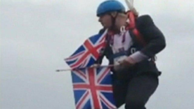 Boris Johnson on zipwire