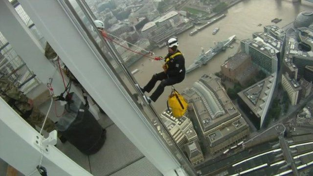 Prince Andrew descending down the Shard