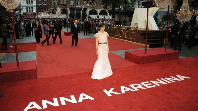 Keira Knightley on Anna Karenina red carpet in Leicester Square, London
