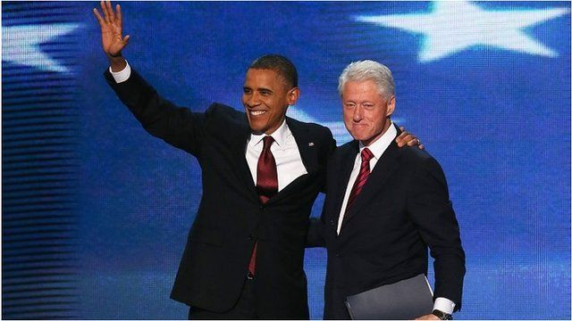 Barack Obama and Bill Clinton on stage, 5 Sep