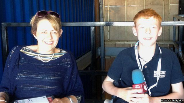 School Reporter Charlie with retired Paralympian Baronness Tanni Grey-Thompson.