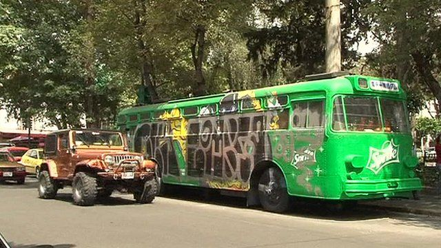 A converted bus in Mexico City