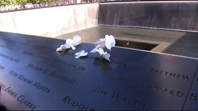 Flowers placed at 9/11 memorials