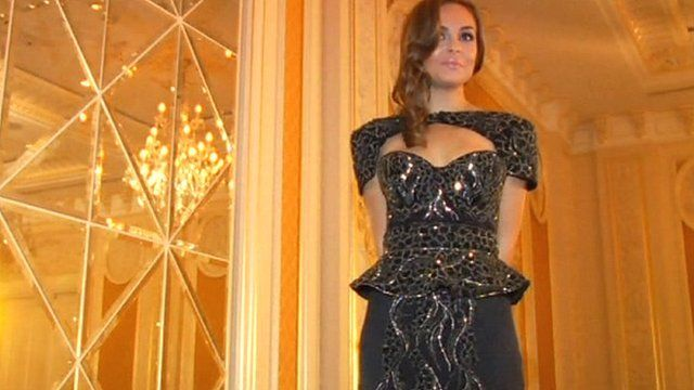 Model in dress by designer Debbie Wingham