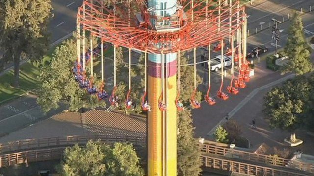 People stuck on theme park ride at Knott's Berry Farm in southern California