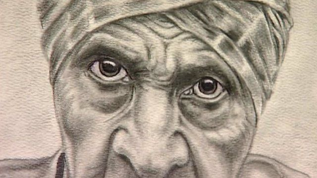 Drawing of a man with wrinkled face and piercing eyes