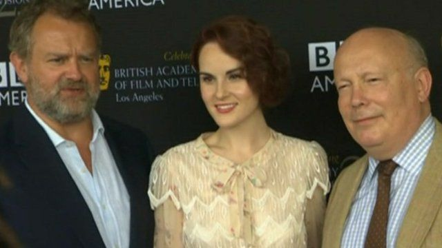Actors Hugh Bonneville and Michelle Dockery and Downton Abbey creator Julian Fellowes