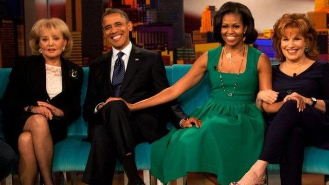 President Barack and Michelle Obama with Barbara Walters (L) and Joy Behar(R) on the set of The View on ABC-TV (24 Sept 2012)
