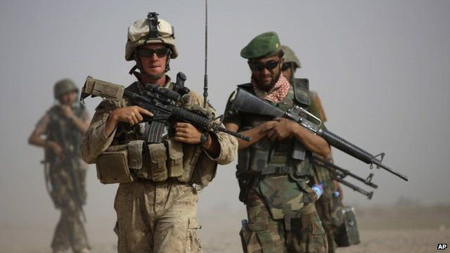 US and Afghan soldiers on a joint patrol (archive image)