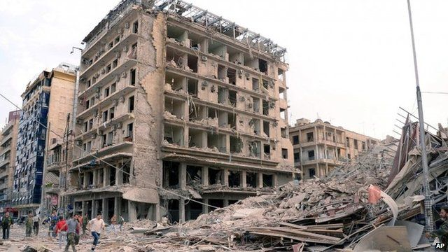 State news agency photograph of aftermath of the explosions in Aleppo's Saadallah al-Jabari Square (3 October 2012)