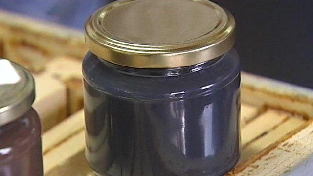 Blue honey in jar