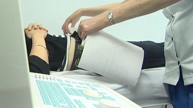 A woman having a scan at an abortion clinic