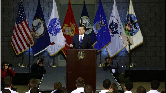 Republican presidential nominee gives a foreign policy address in Virginia
