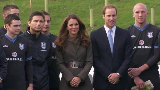 Royal couple and England footballers