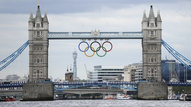 Tower Bridge with Olympic rings