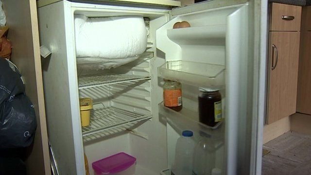 Couple's empty fridge