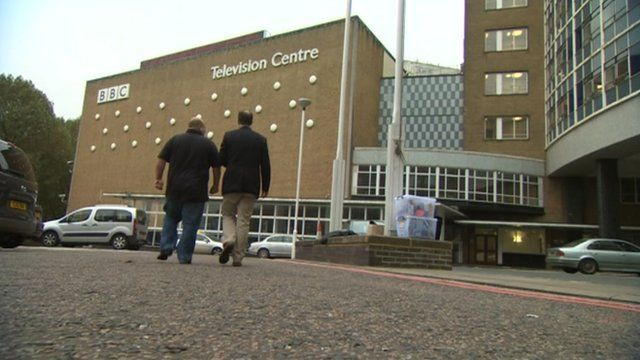 An alleged victim of Jimmy Savile and the BBC's David Sillito outside Television Centre