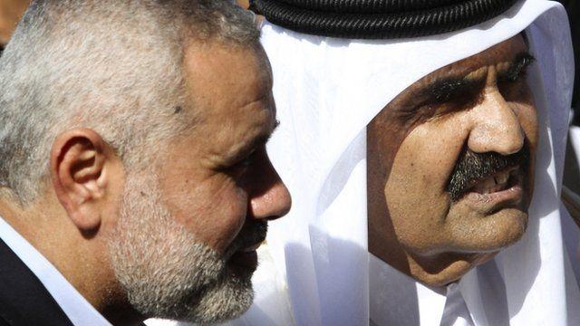 Gaza's Hamas Prime Minister Ismail Haniyeh with the Emir of Qatar Sheik Hamad bin Khalifa al-Thani