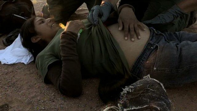 A pregnant Guatemalan woman who has tried to cross the Sonoran Desert