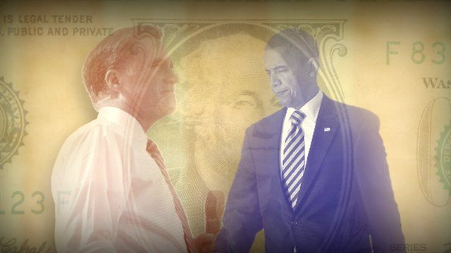 Obama and Romney illustration in front of dollar bill