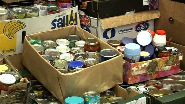 Tinned food donated to the food bank in Bradford