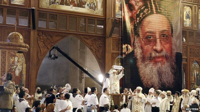 Bishop Tawadros named as the new pope during a ceremony in Cairo