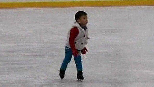 A boy skating