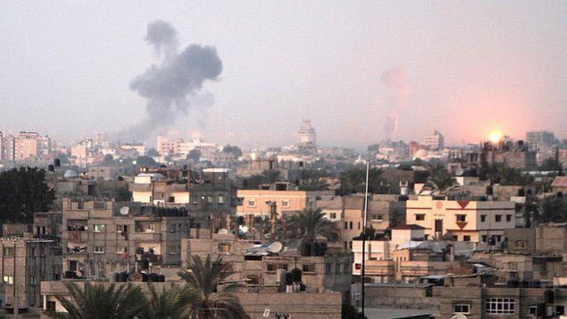 Smoke rises following an Israeli air strike in Khan Yunis, southern Gaza Strip