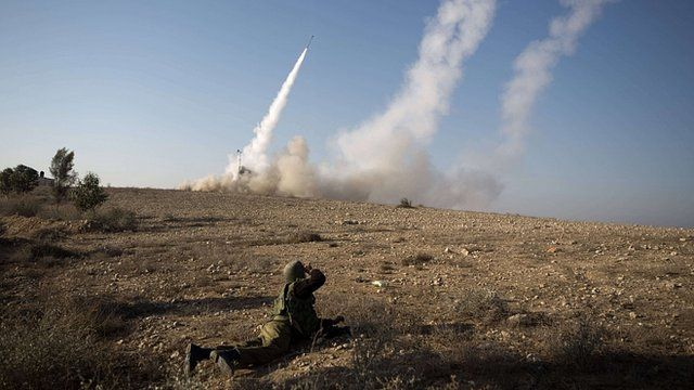 Israeli missile launched from the Iron Dome system