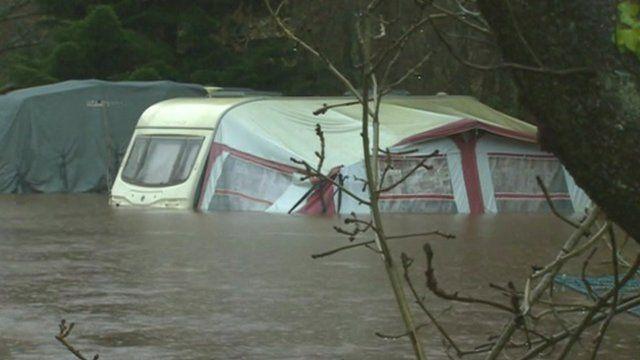 Flooded caravan