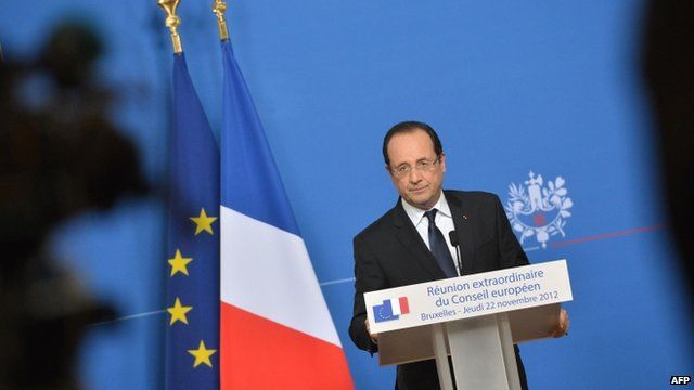 French President Francois Hollande at the EU headquarters in Brussels