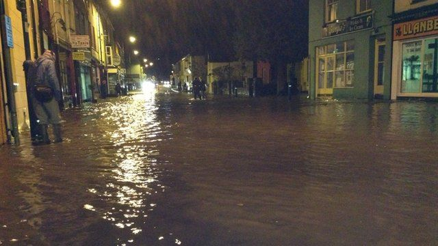 Llanberis High Street was still underwater late into Thursday evening