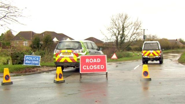 Road closed sign in East Yorkshire