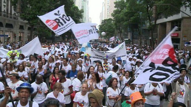 Protesters in Rio's historic centre