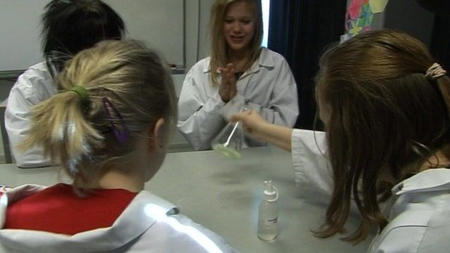 Finnish girls conducting science experiment