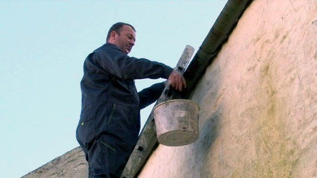 Alistair Taylor up a ladder