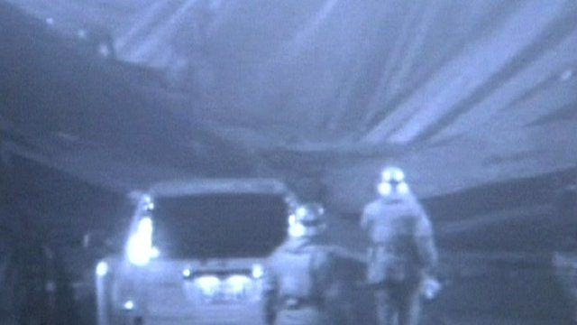 Rescue workers inside collapsed Sasago tunnel in Japan