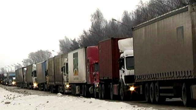 Lorries stuck in traffic jam in Russia