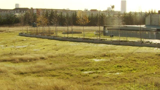 Wasteland in Newham which is the site for the proposed mega-mosque