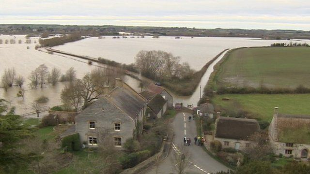 A view of Muchelney cut-off by flood water