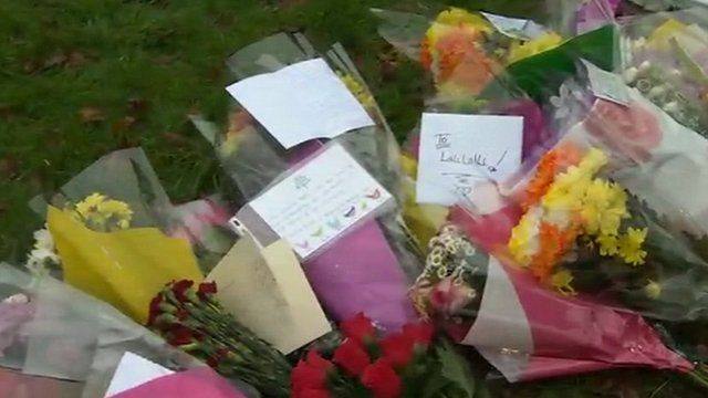 Floral tributes near Queens Inclosure Primary School
