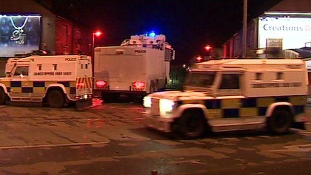 Police vans in Belfast